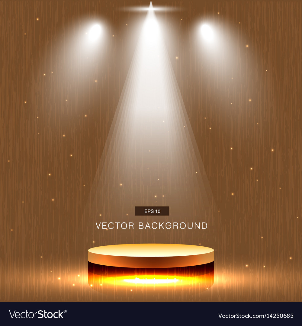 Gold stage with spotlight wood background vector image