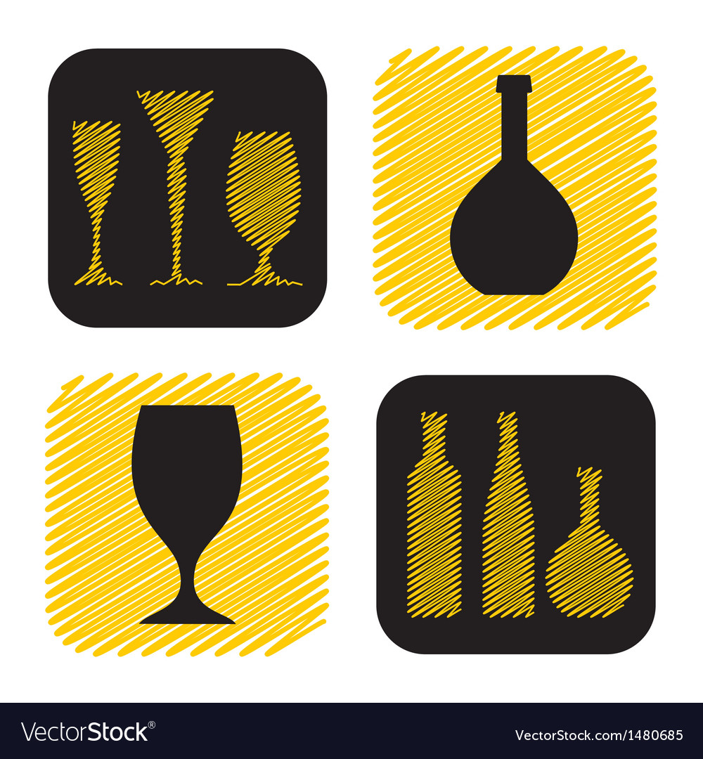 Hand drawn wine glass and bottle icon collection vector image