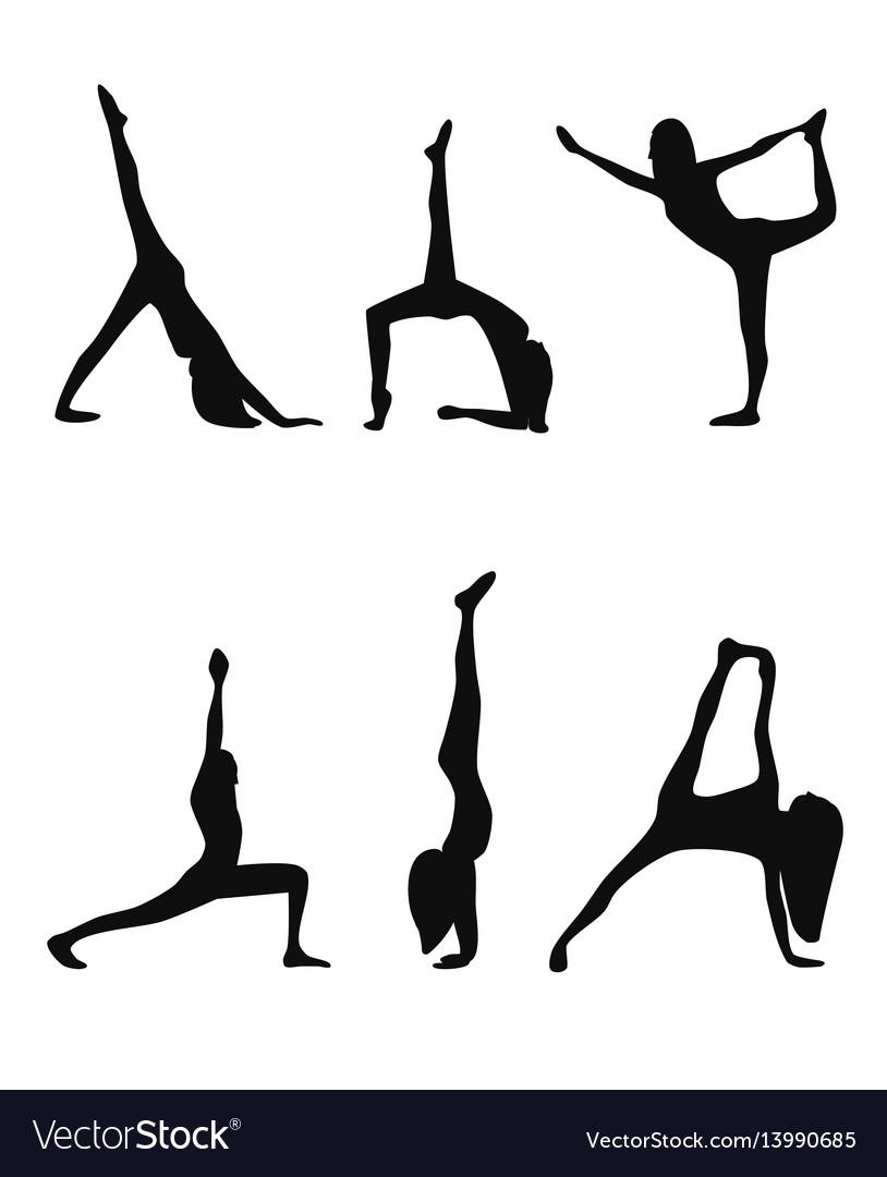 Yoga poses black silhouettes set vector image