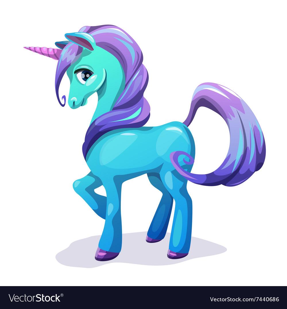 Cute cartoon blue unicorn with purple hair vector image