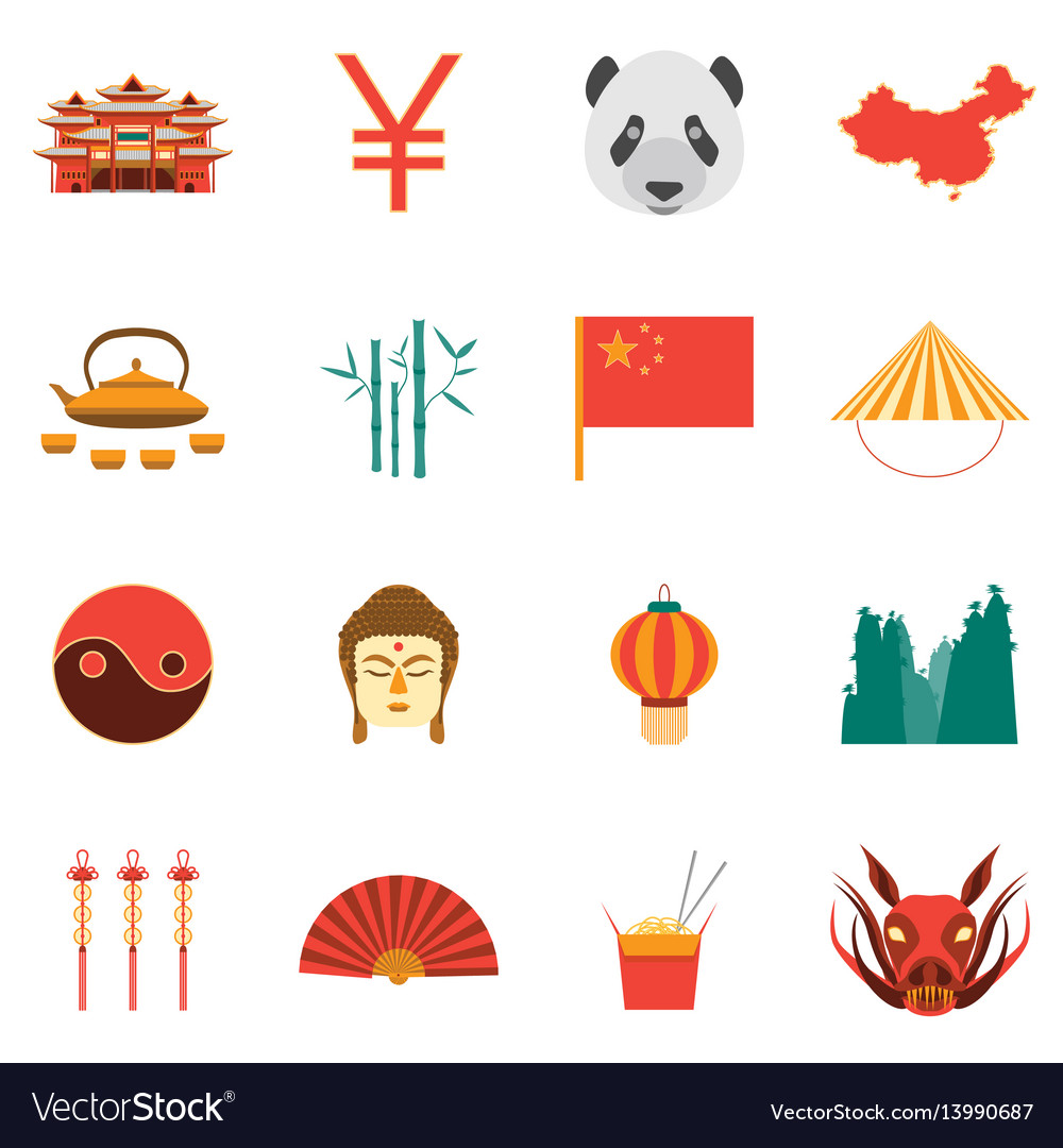 Cartoon chinese culture and tourism colorful icons vector image