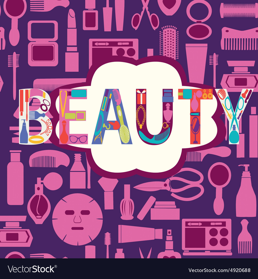Beauty pattern makeup cosmetic and beauty vector image