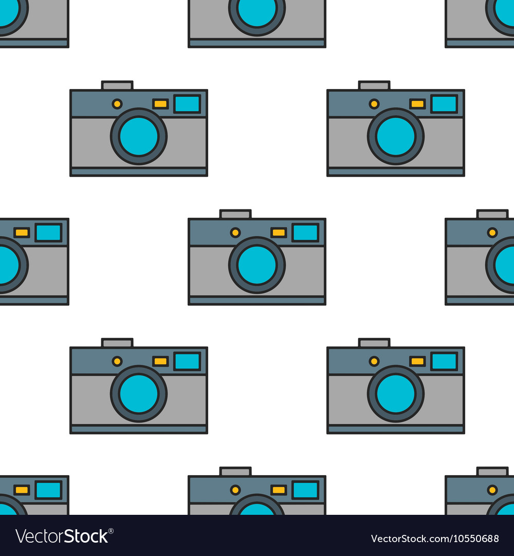 Seamless pattern of photo cameras flat objects on vector image