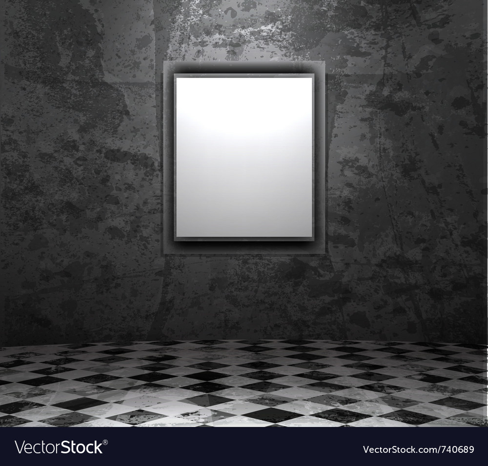 Picture frame in grunge empty interior Vector Image