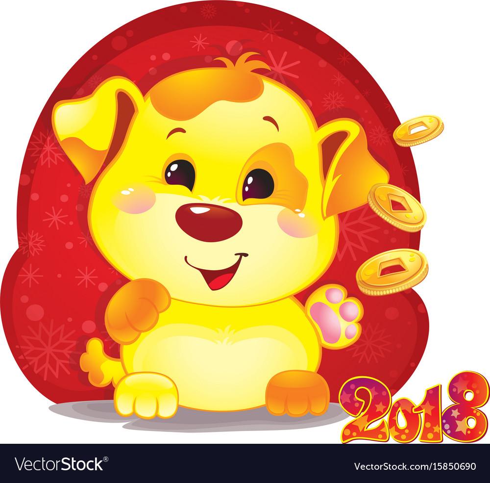 Cute symbol of chinese horoscope - yellow dog vector image