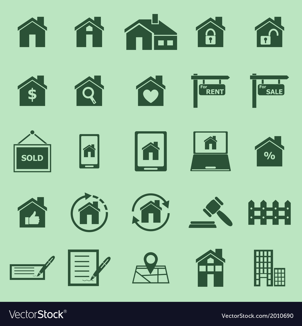 Real estate color icons on green background Vector Image