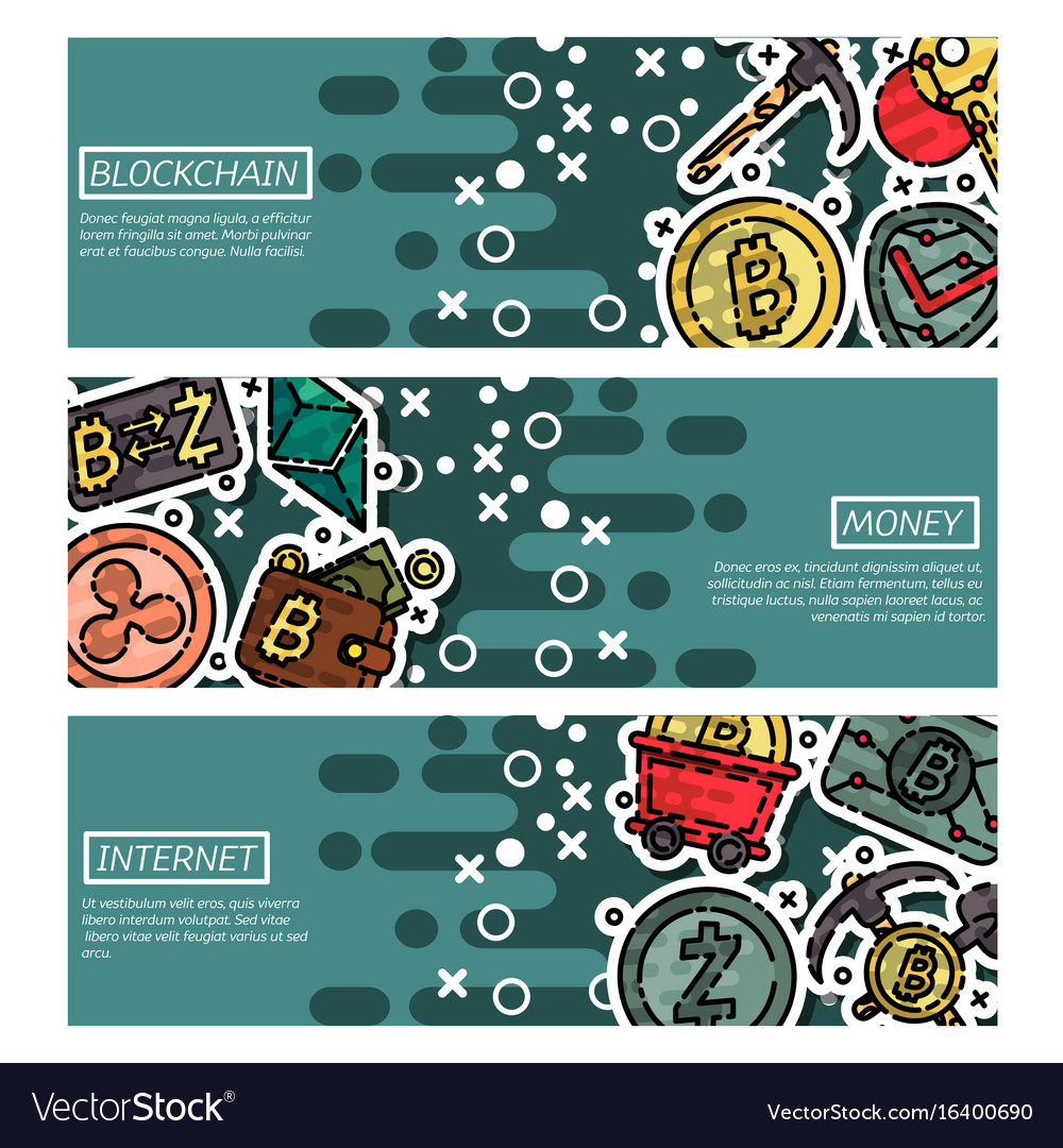 Set of horizontal banners about blockchain vector image