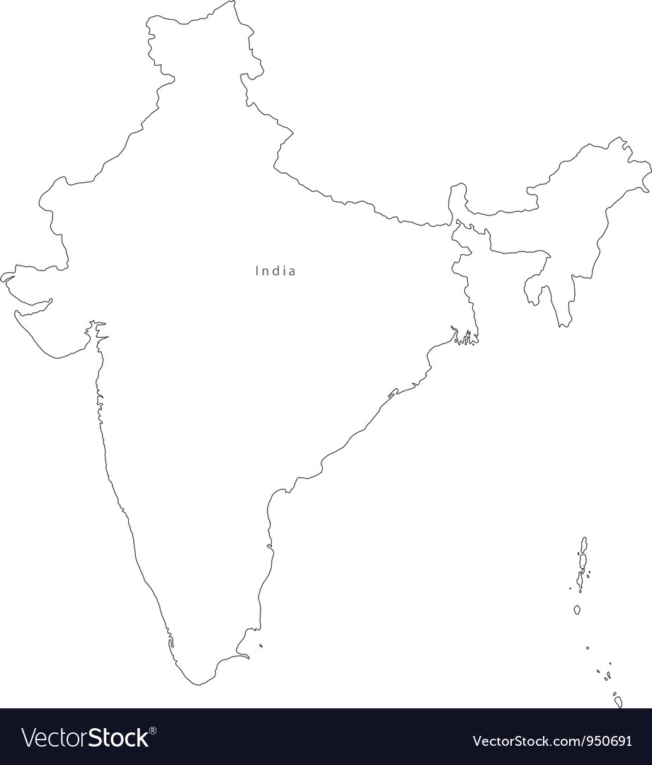 Black White India Outline Map vector image