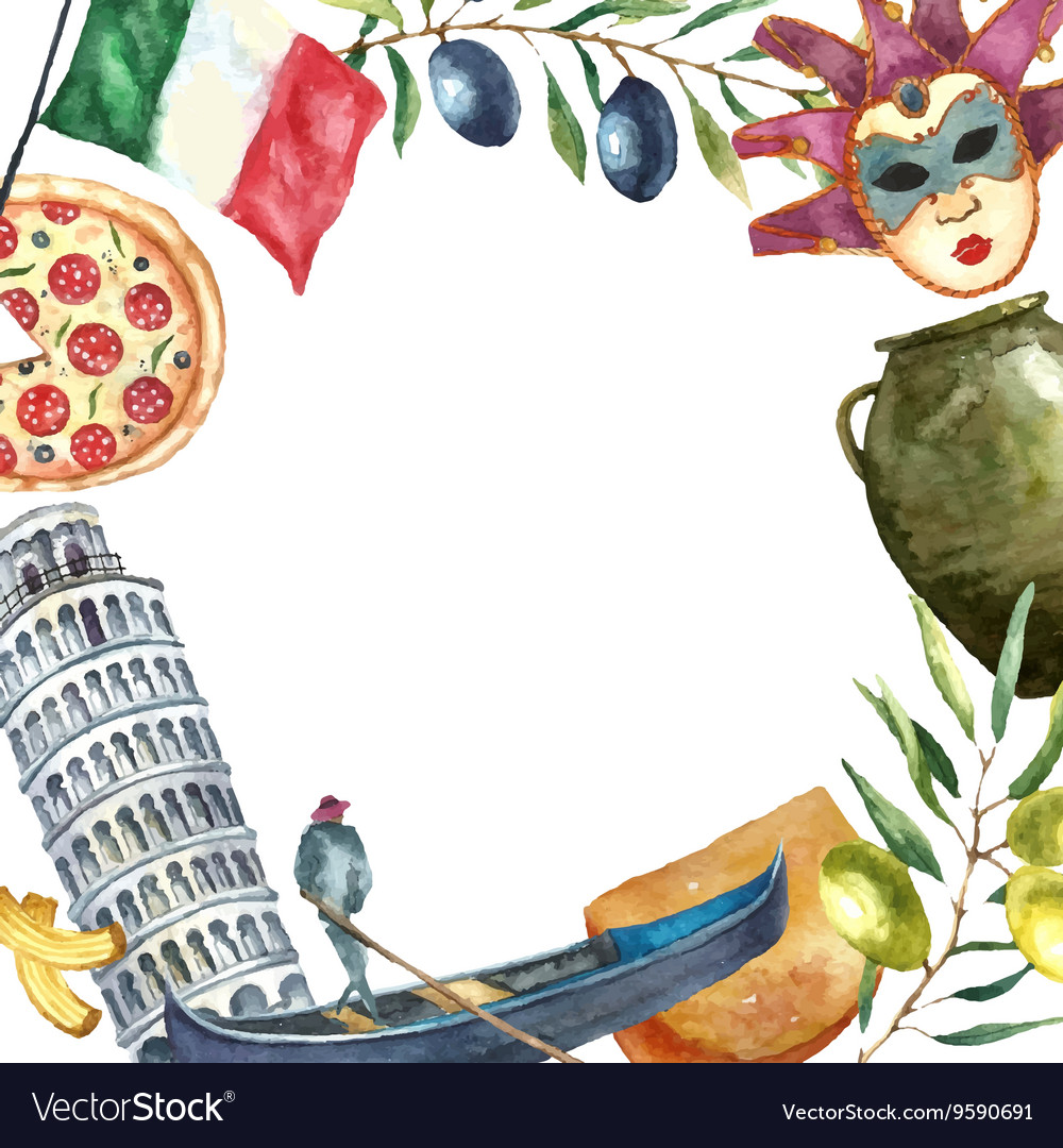 Set of Italy icons watercolor vector image