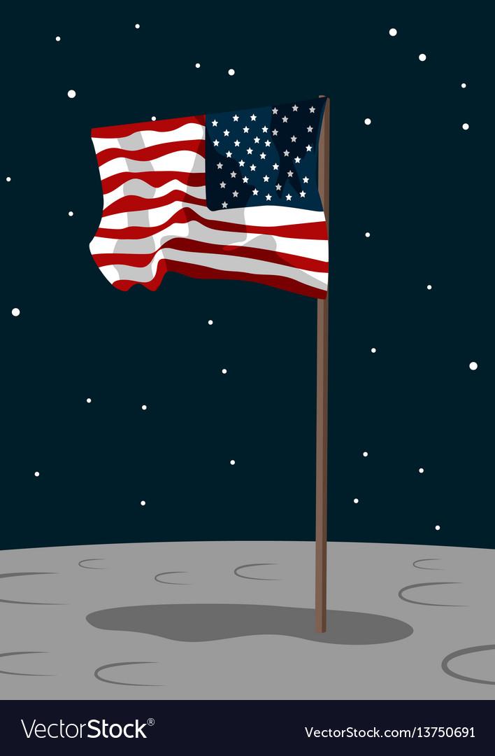 Usa flag on the moon surface vector image