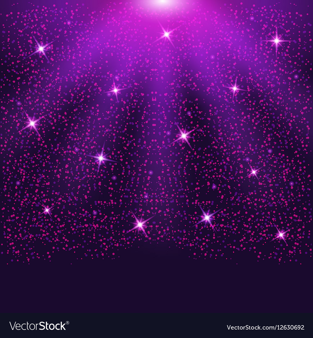 Falling sparkling purple particles and stars vector image