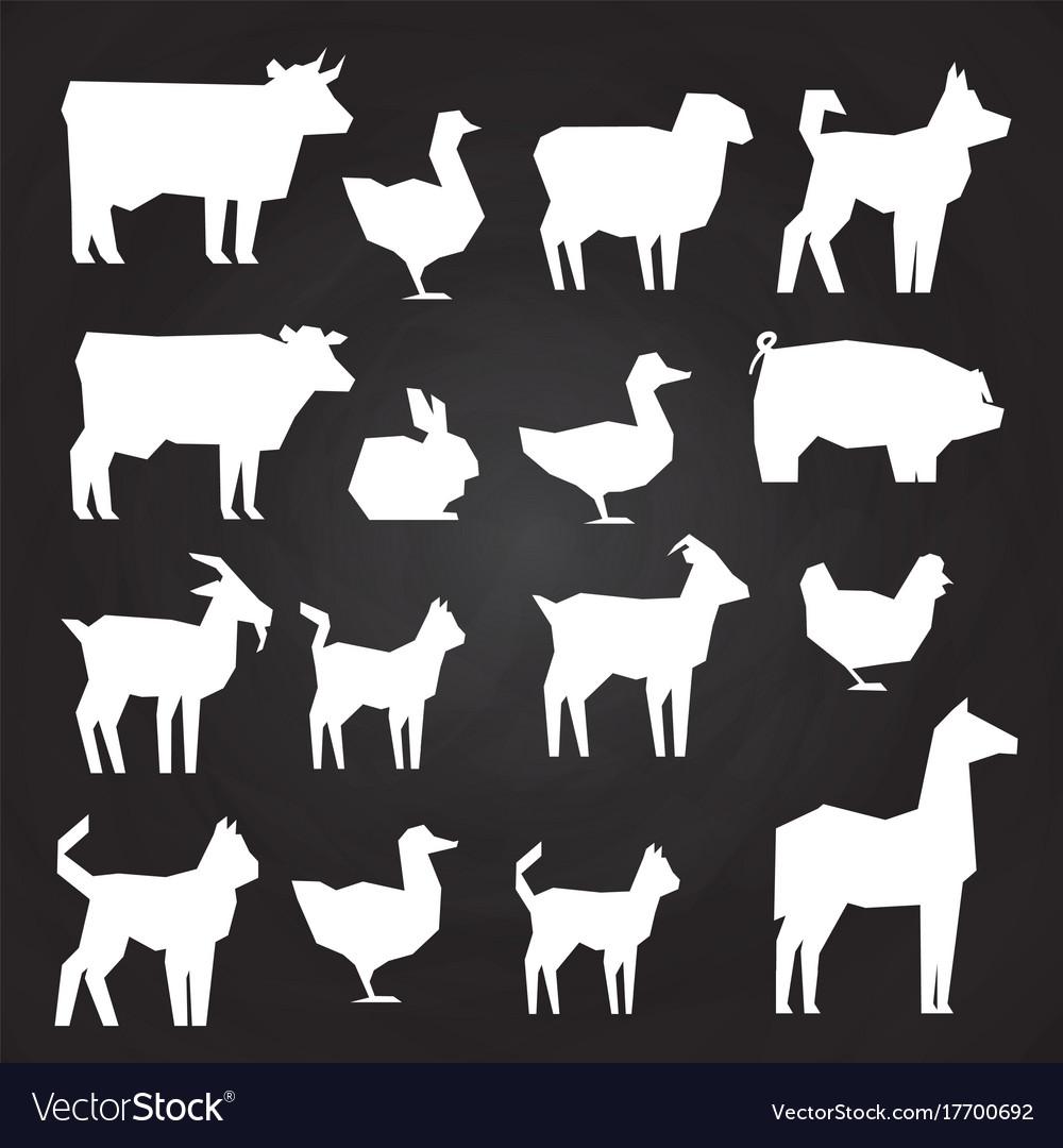 White farm animals silhouetes icons on black vector image
