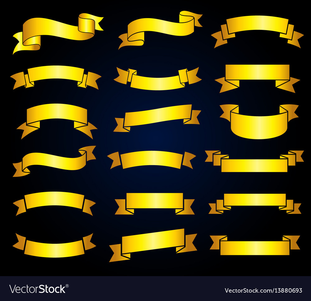 Retro golden ribbon banners stock vector image