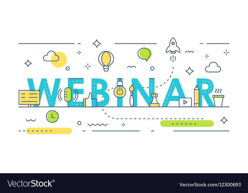 Webinar Sign Online Event Line Art vector image