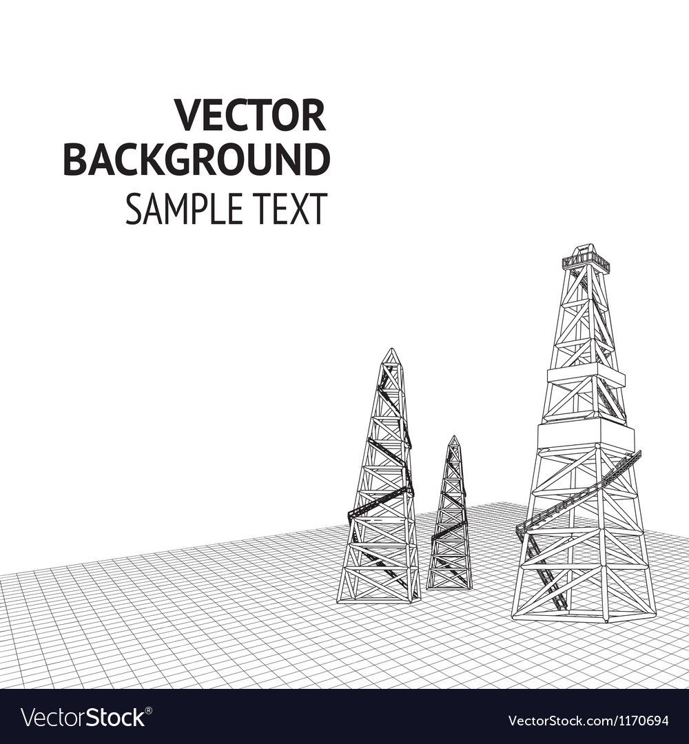 Oil derrick background vector image