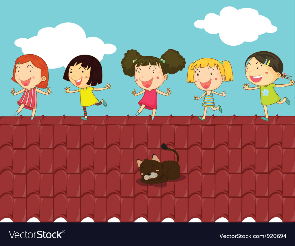 cartoon of kids on the roof royalty free vector image