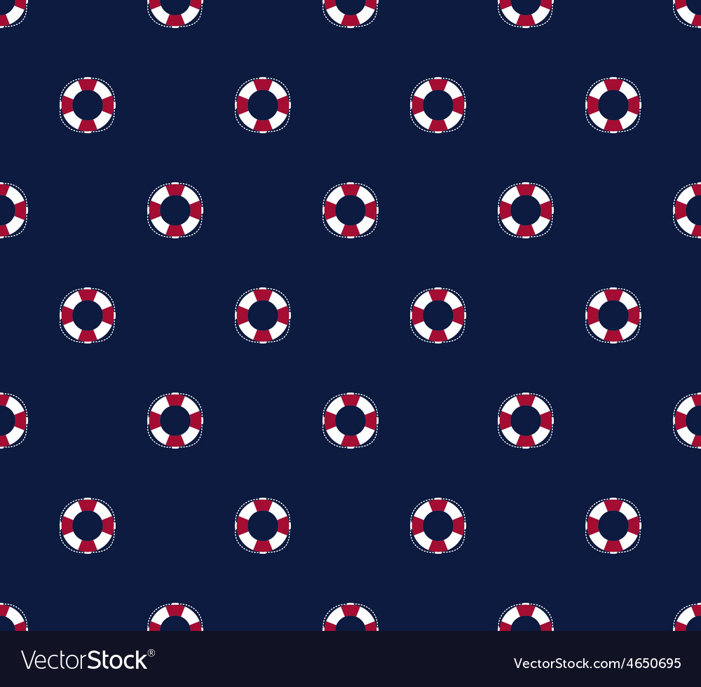 Sea and nautical seamless pattern with life saver vector image