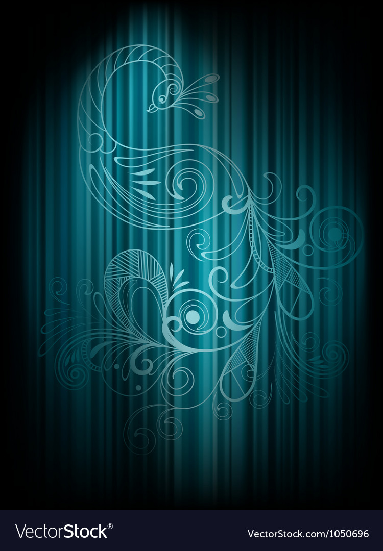 Background with peacock and stripes vector image