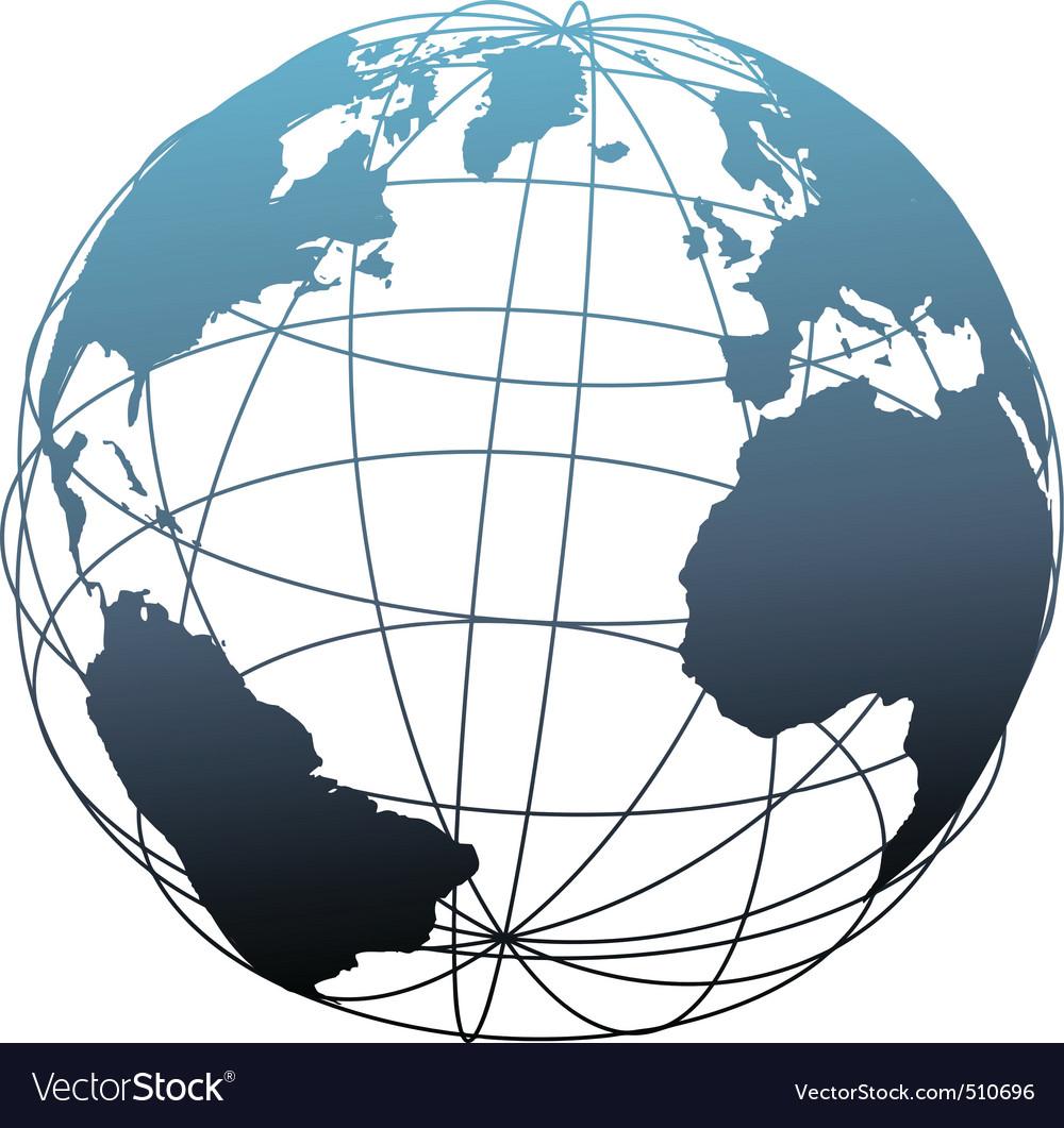 Global wireframe latitude atlantic earth globe vector image