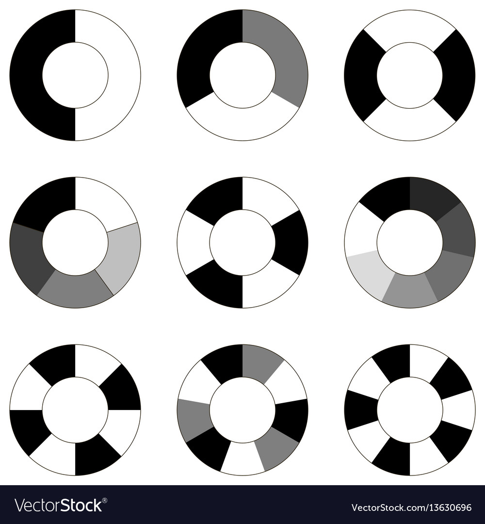 Set infographics elements sector circle bagel vector image