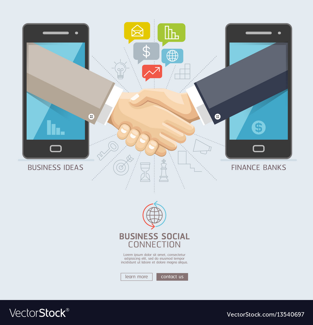 Business social connection technology conceptual vector image