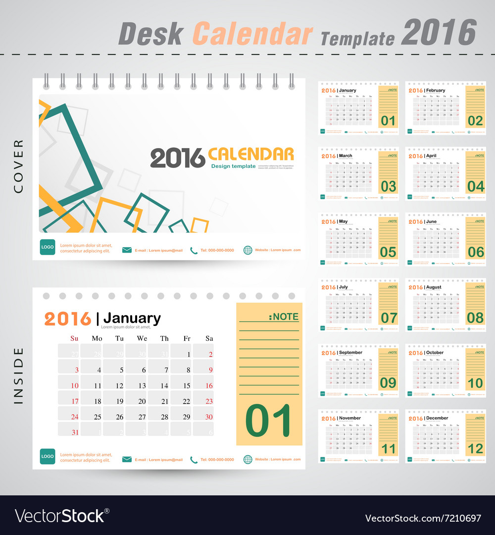Cover Calendar Design Vector : Desk calendar modern square design cover vector image