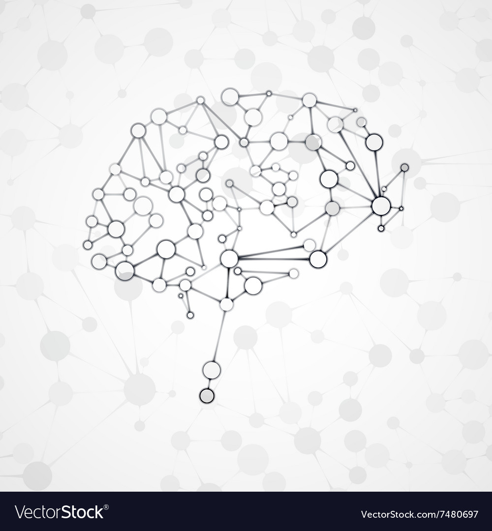 Molecular structure in the form of brain vector image