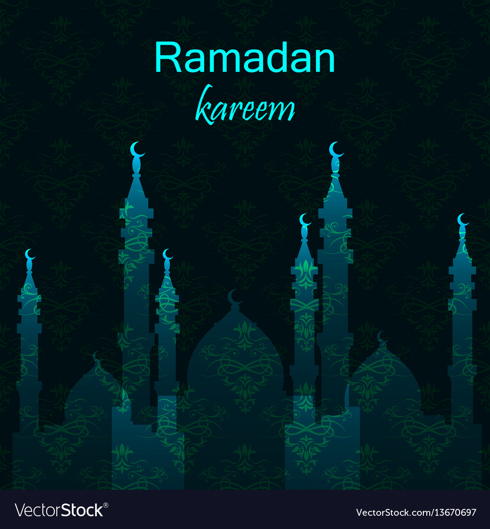 Ramadan greetings card view of mosque in night vector image kristyandbryce Images