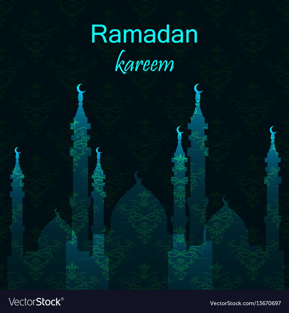Ramadan greetings card view of mosque in night vector image kristyandbryce Choice Image