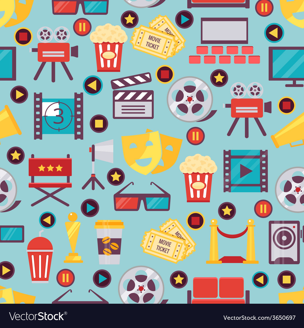 Seamless Film and Cinema Background Design vector image