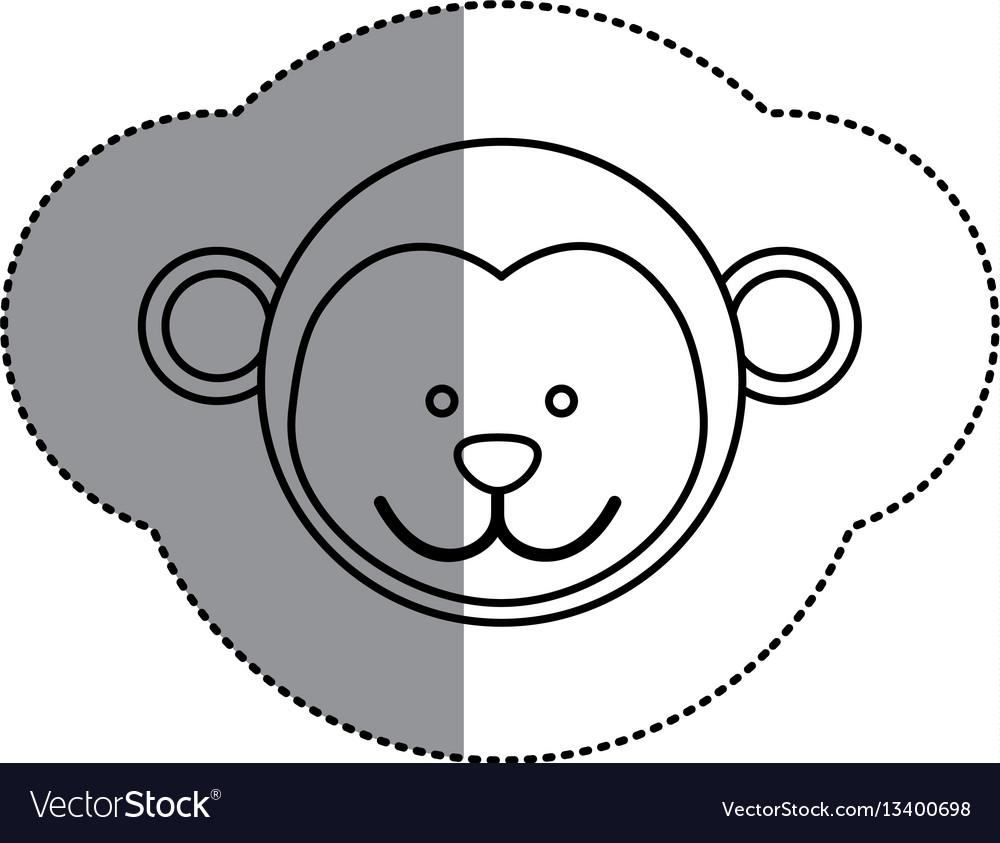 Contour face monkey icon vector image