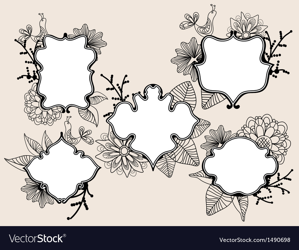 Floral labels vector image