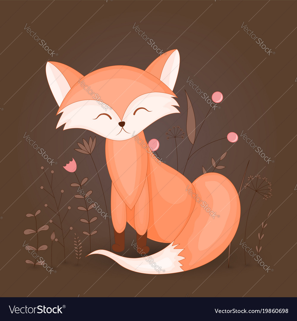 Gift postcard with cartoon animal fox decorative vector image