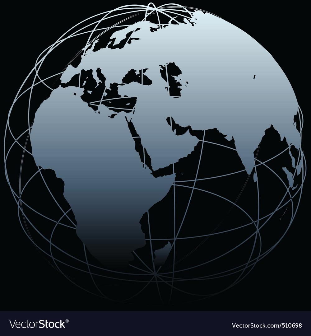 Globe eastern earth world longitude map on black vector image globe eastern earth world longitude map on black vector image gumiabroncs Image collections