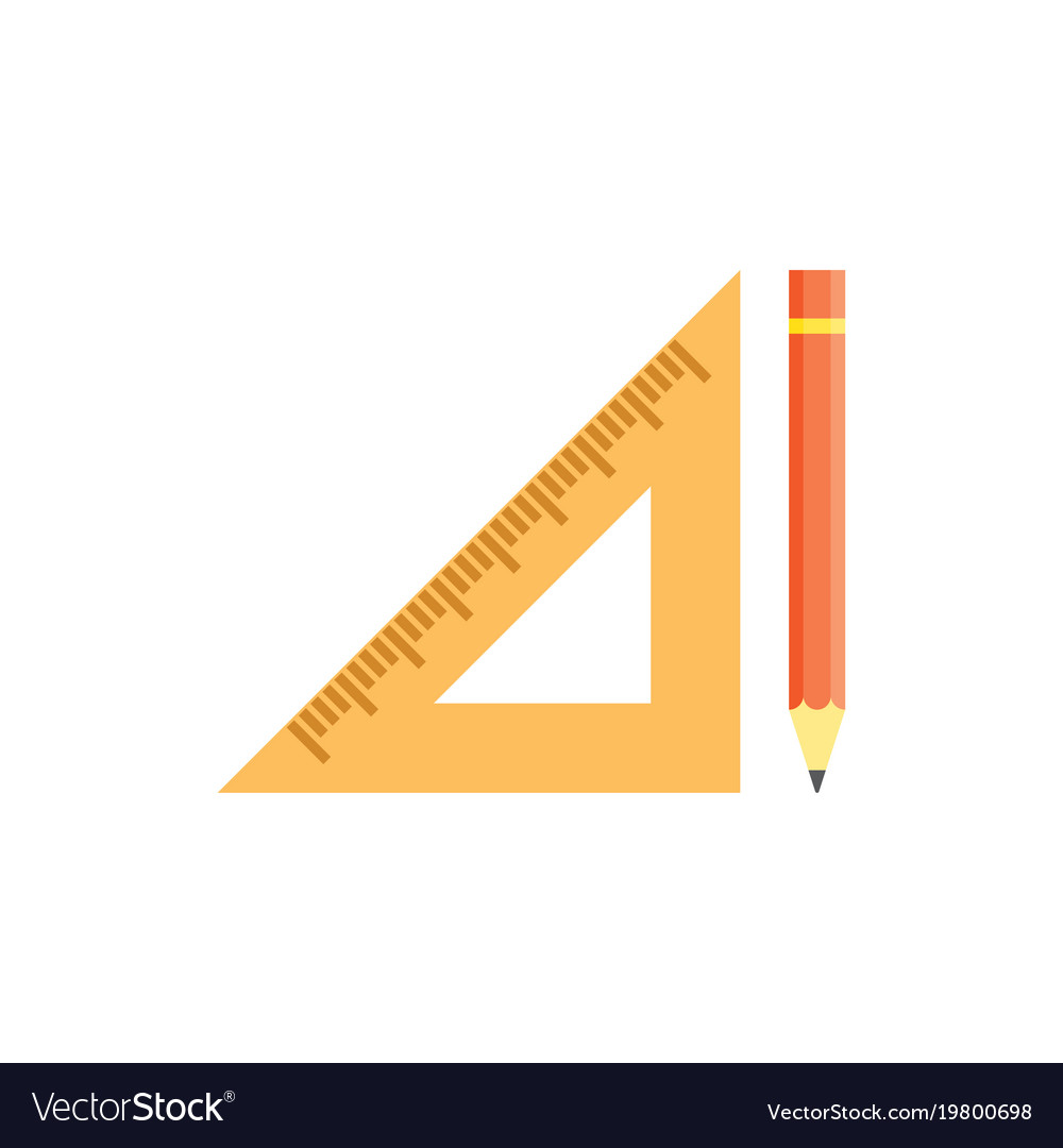 School triangular ruler and yellow pencil vector image