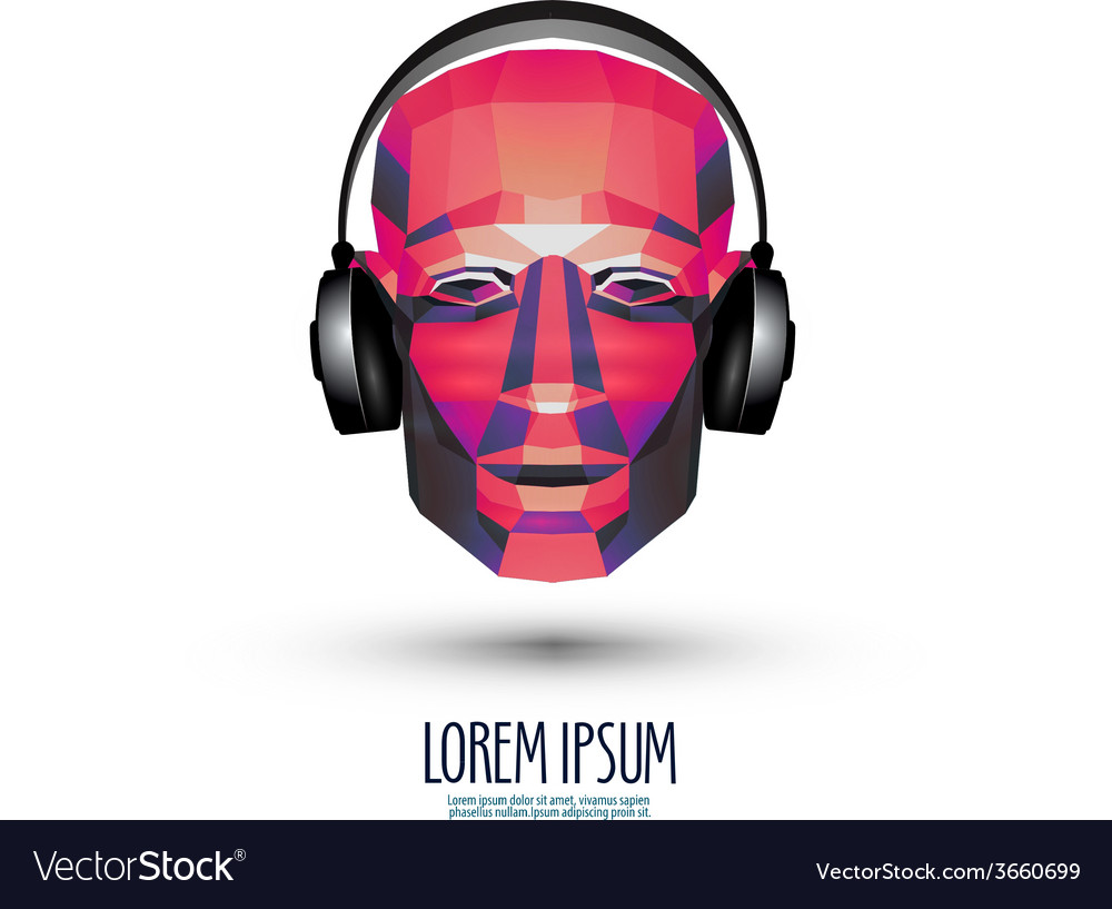 DJ logo design template music or headphones icon vector image