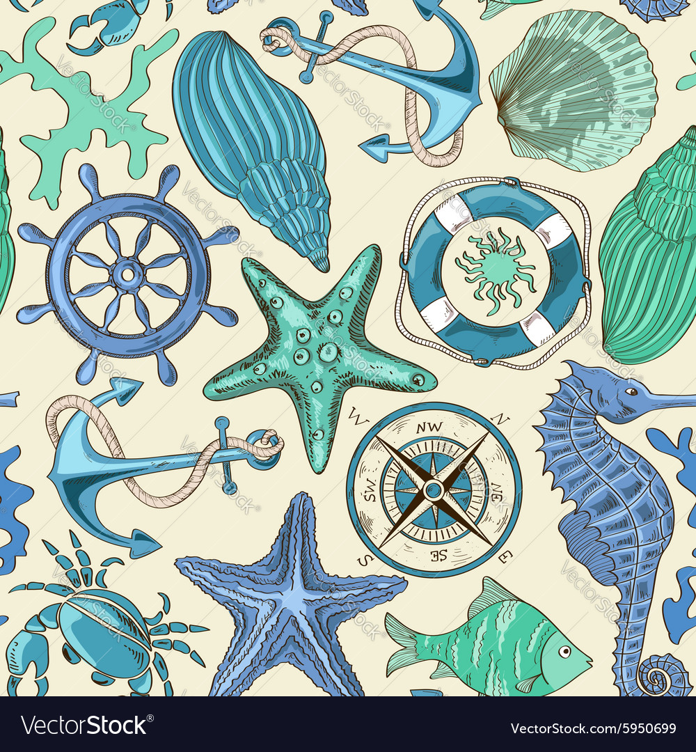 Seamless pattern of sea animals and nautical vector image