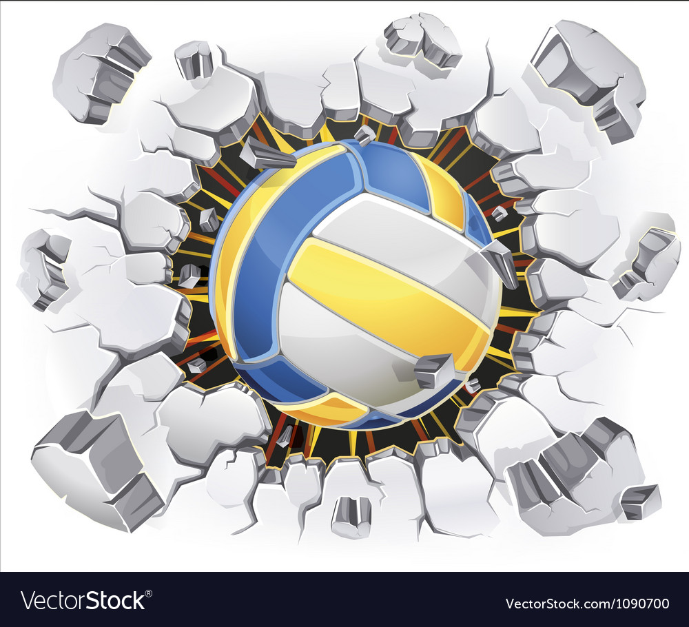 Color Volleyball and Old Plaster wall damage vector image
