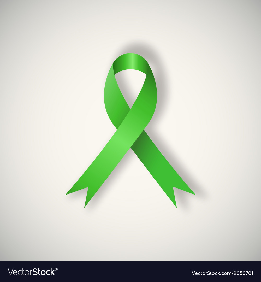 Breast cancer awareness green ribbon vector image