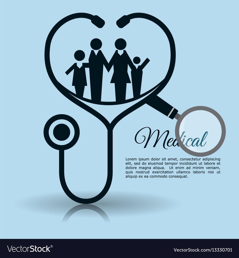 Family stethoscope medical equipment vector image