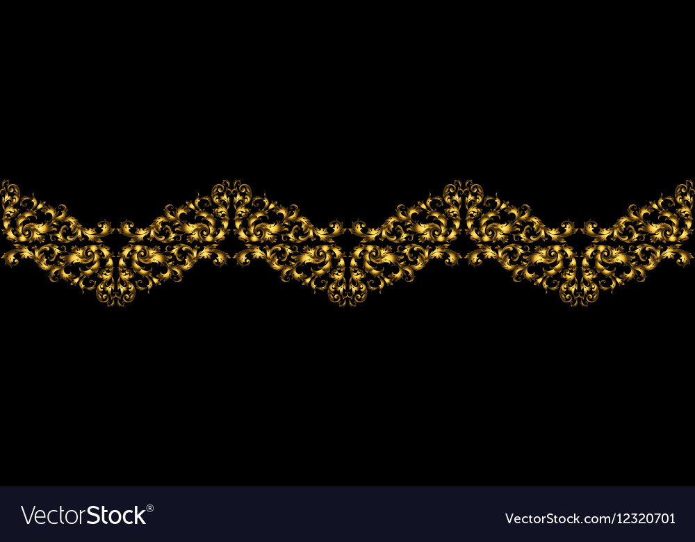 Floral border with gilded elements in retro style vector image