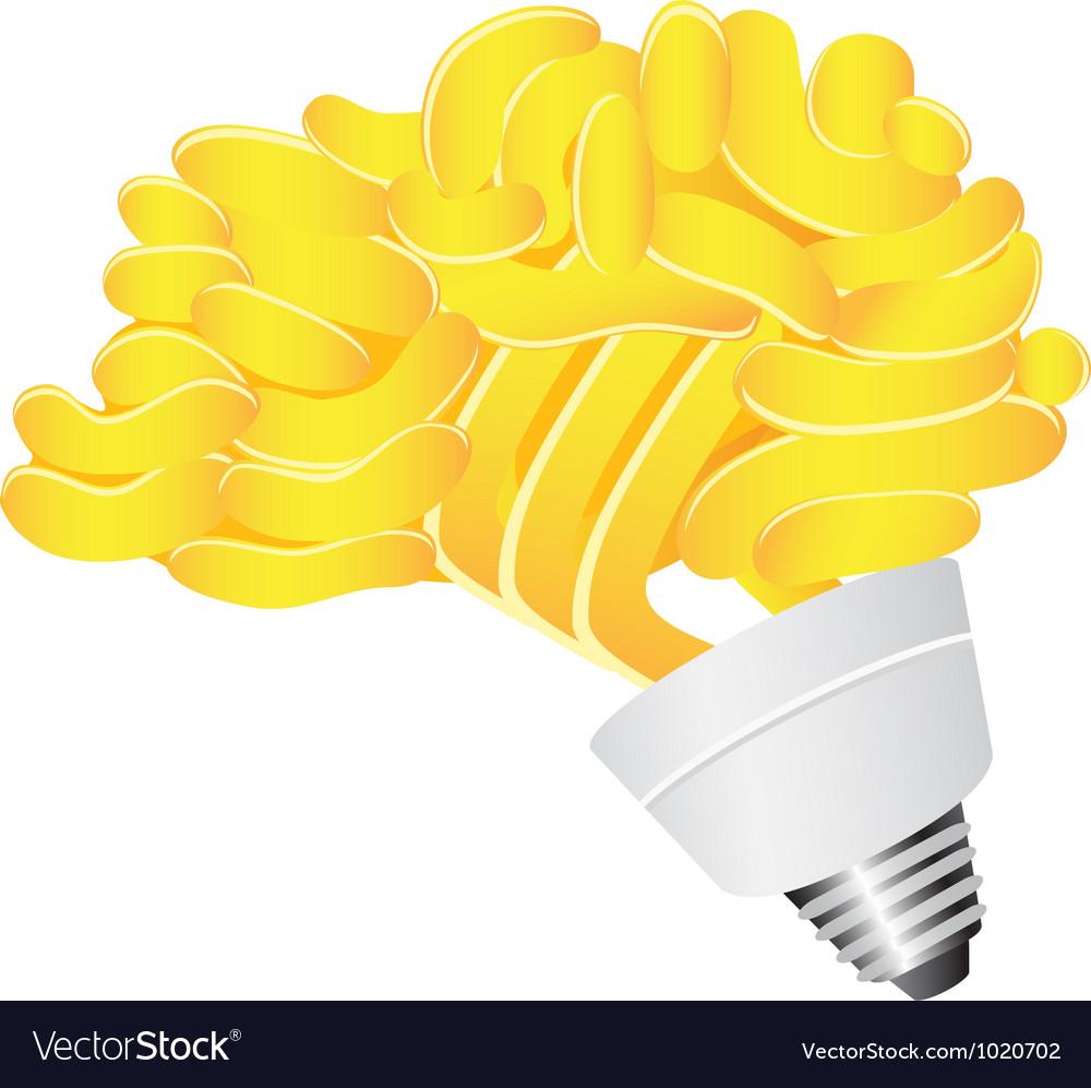 Brain Energy saving lightbulb vector image