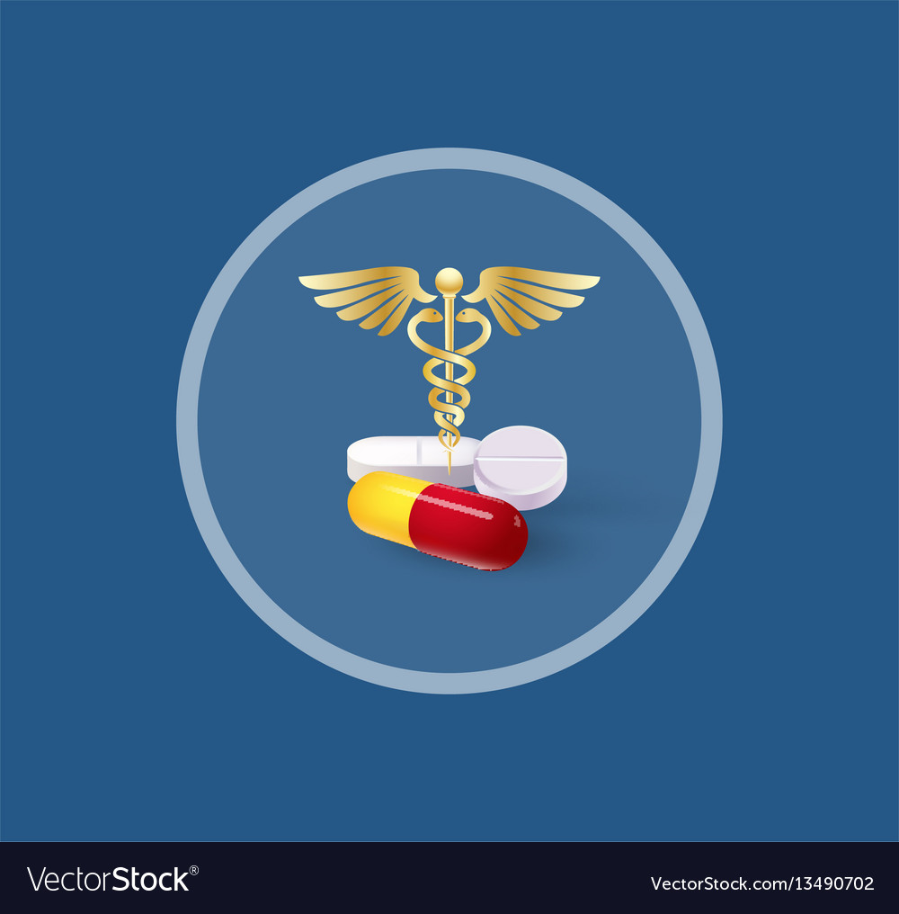 Dimensional tablets and caduceus vector image
