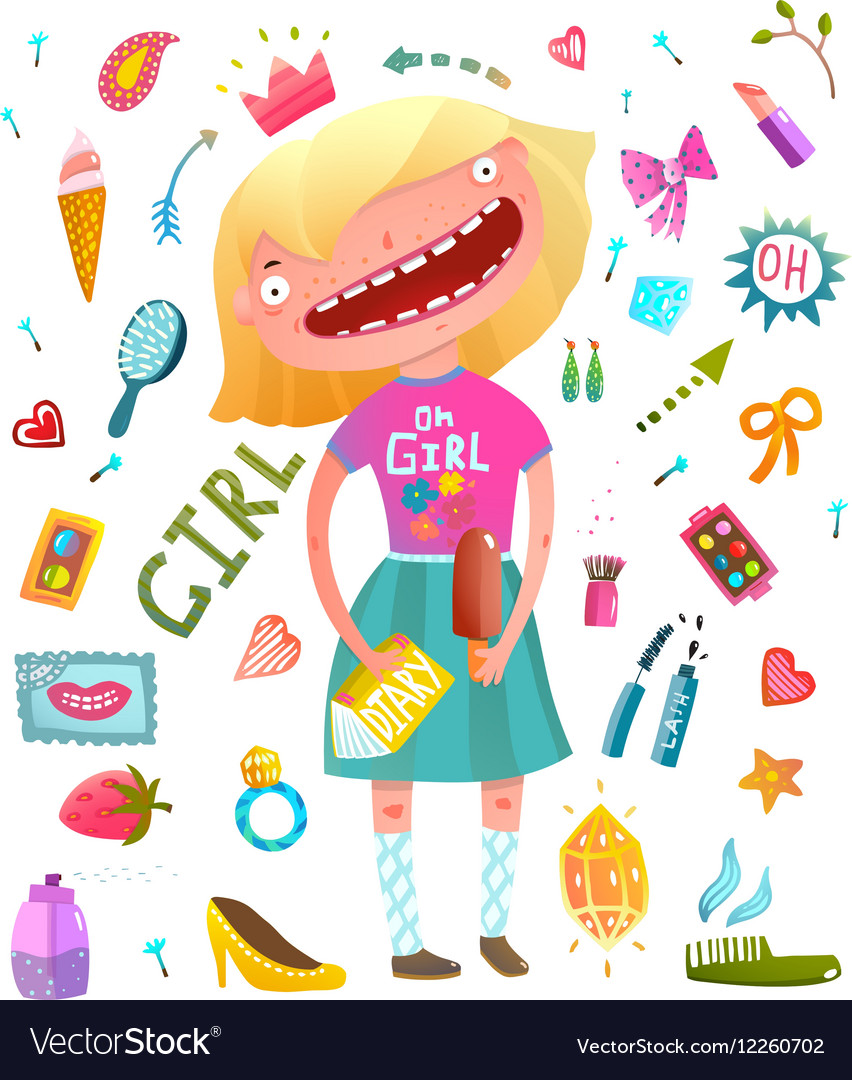 Girlish clip art collection with teenager girl and vector image