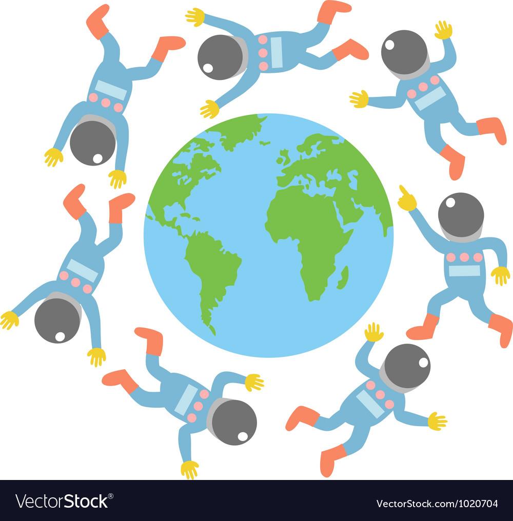 Spaceman around the world vector image