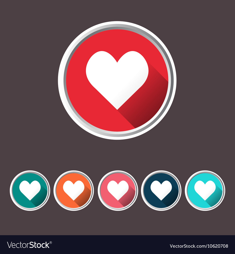 Heart set icons love icon flat web sign vector image