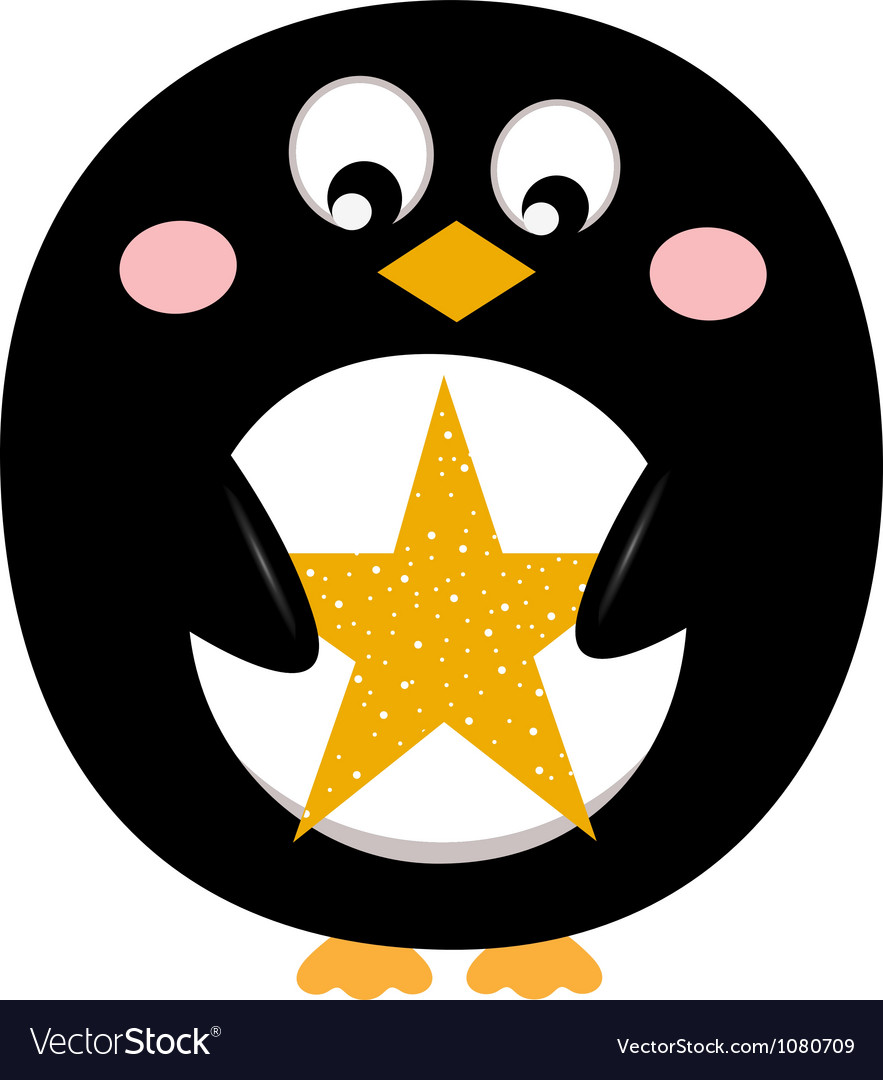 Cute penguin with christmas star vector image