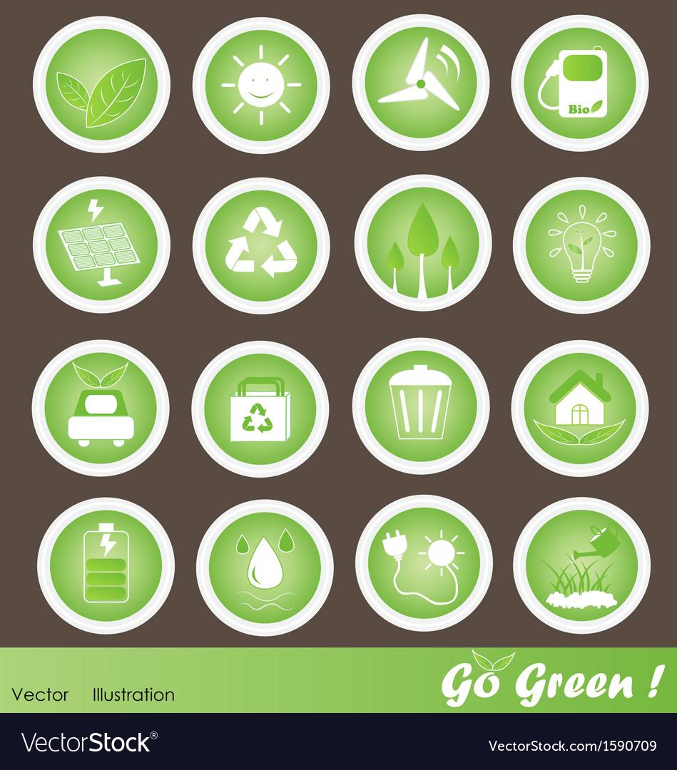 Eco Friendly Icons Set Go Green vector image