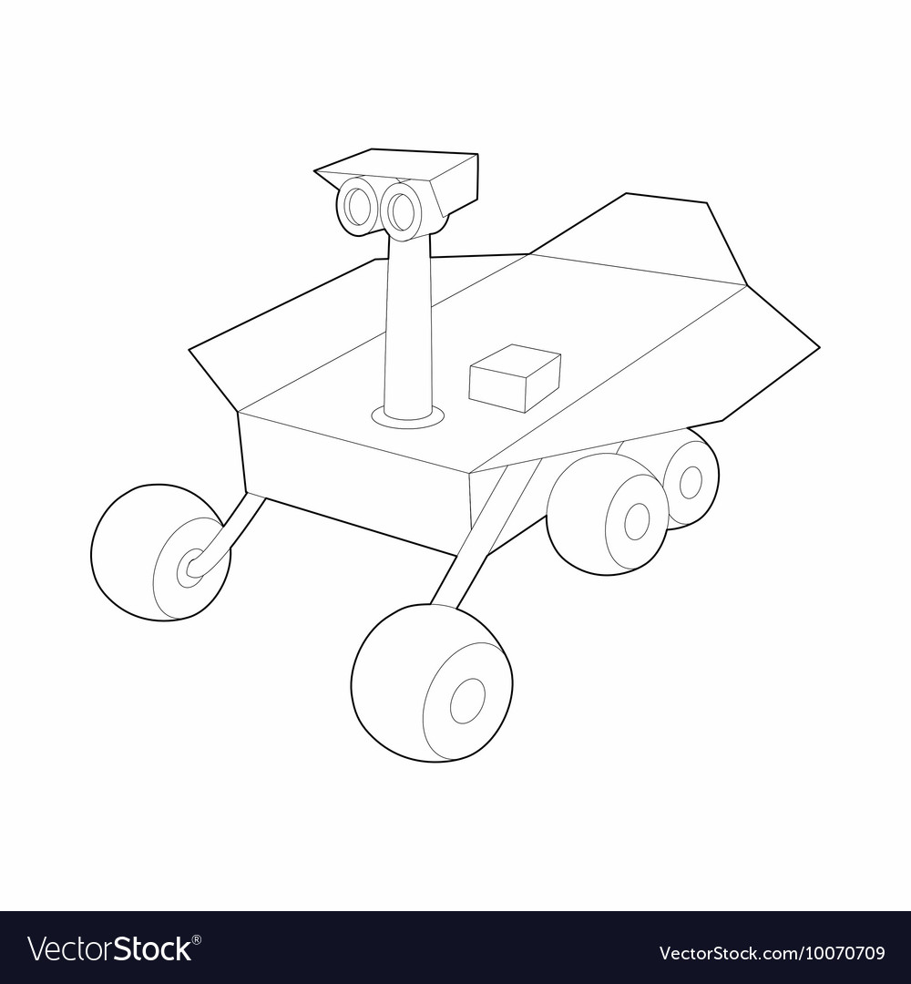 Mars exploration rover icon outline style vector image