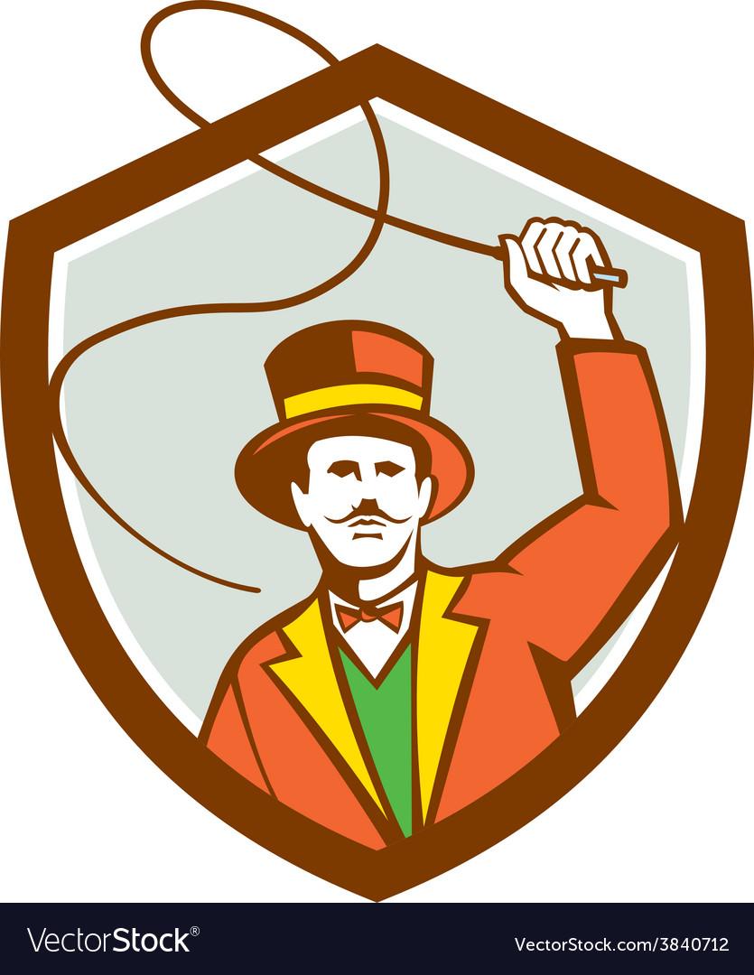 Circus Ring Master Bullwhip Shield Retro vector image